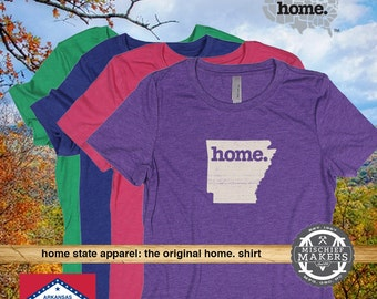 Arkansas Home. T-shirt- Women's red green purple pink royal