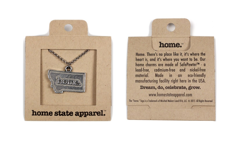 MT Home State Apparel Montana Home Necklace Charm Montana Necklace