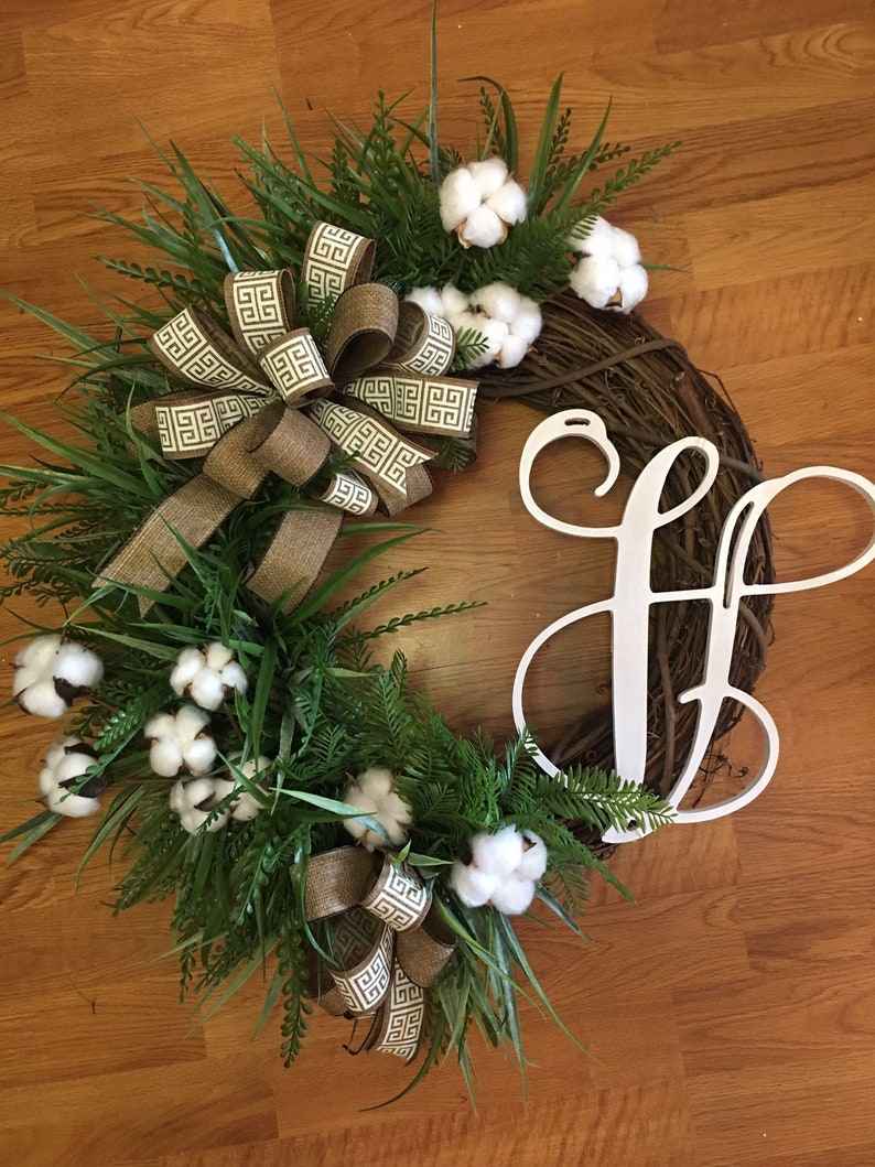 wreath with cotton Grapevine inital cotton wreath with mixed grasses and mix of burlap ribbon cottonwreath farmhouse cotton wreath,Wreat