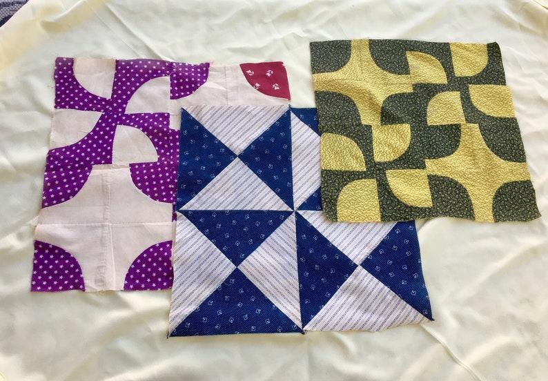 3 Vintage Antique Calico Fabric Large Quilt Blocks