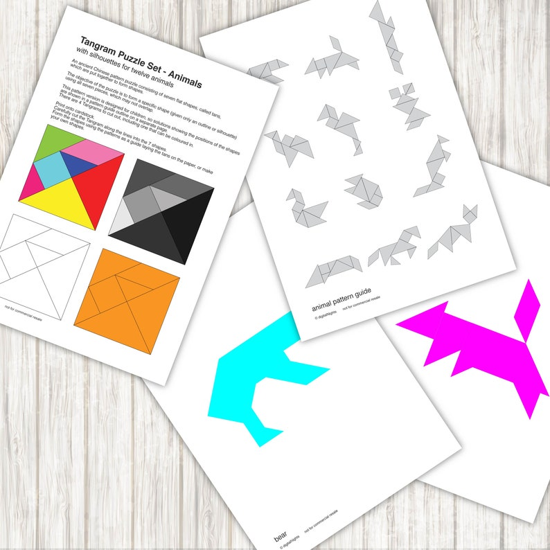 photograph relating to Printable Tangrams Pdf Free called Animal Tangram Puzzles - 12 animal types - PDF, Printable Fast Down load