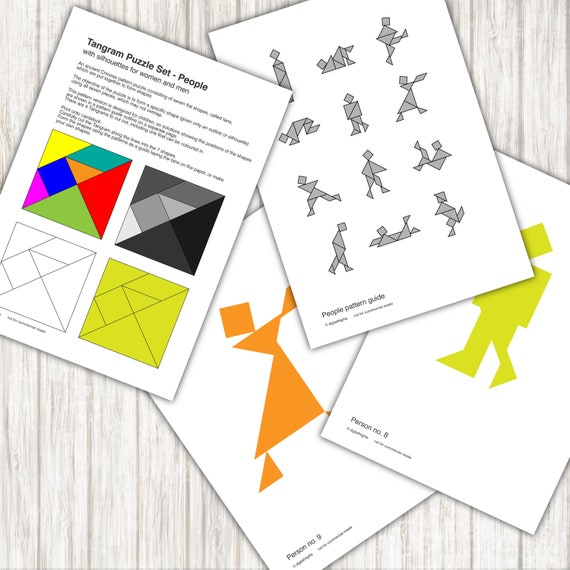 People Tangram Puzzles 12 People Patterns Pdf Printable Etsy