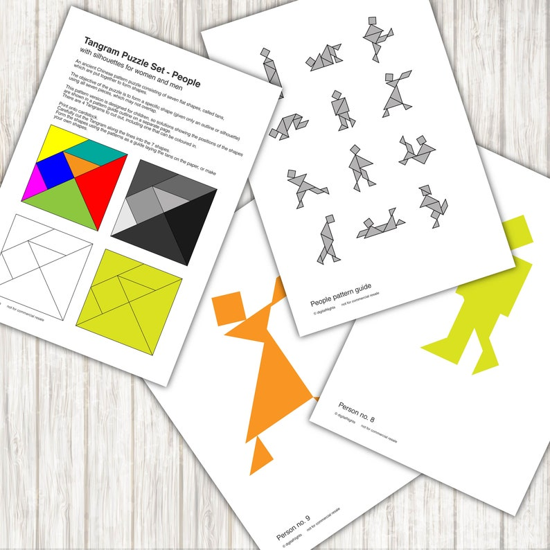 photo about Tangrams Printable Pdf named Individuals Tangram Puzzles - 12 human beings routines - PDF, Printable Quick Down load
