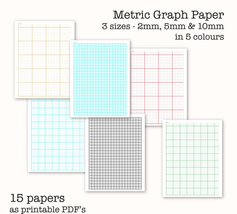 15 Metric Scale Graph Papers - Centimetre Graph Paper - Digital Graph  Paper, PDF, Printable, Instant Download