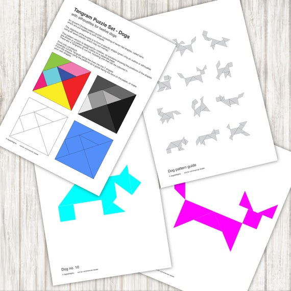 picture relating to Tangram Printable Pdf titled Doggy Tangram Puzzles - 12 pet dog habits - PDF, Printable Prompt Obtain