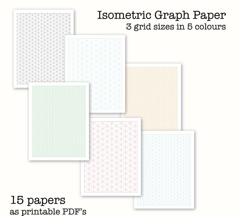 graphic relating to Isometric Graph Paper Printable referred to as 15 Isometric Graph Papers - Isometric drawing Paper - Electronic Graph Paper, PDF, Printable, Immediate Obtain