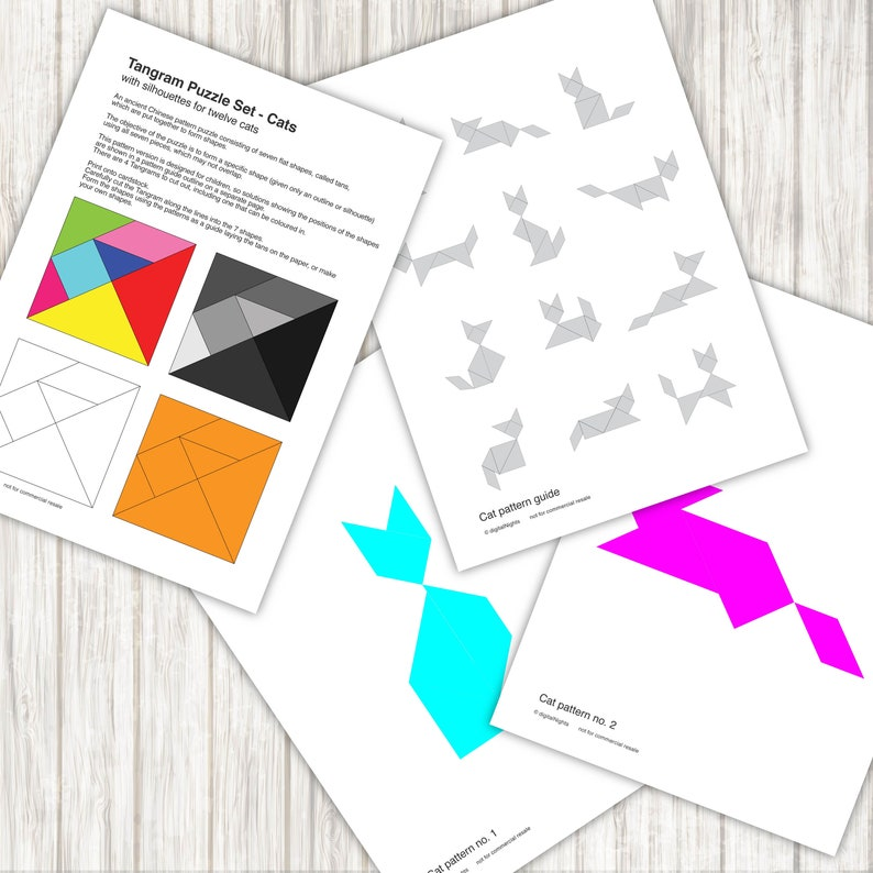 picture relating to Printable Tangrams Pdf Free named Cat Tangram Puzzles - 12 cat models - PDF, Printable Quick Down load