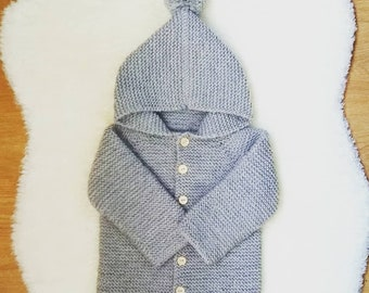 0a5f7aee818d Hoodie handknitted baby cardigan - merino knit baby cardigan - handknit  sweater - handmade newborn - knit baby jacket - newborn knit