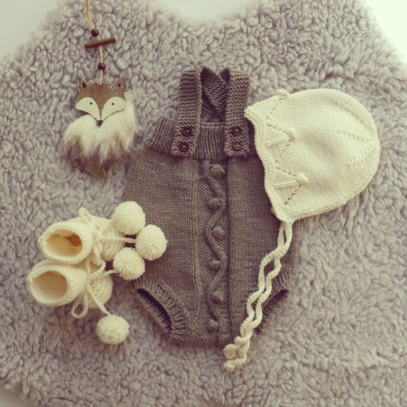 Cable Bobble Knit Baby Romper Handmade Onesies Baby Pants Etsy