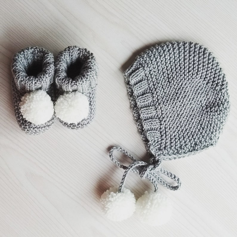f996d2c6e pompom baby set- cotton merino baby bonnet and booties