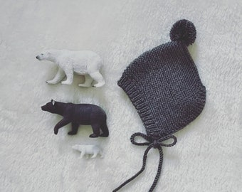 pixie knit baby hat - knitted baby hat pixie style with pompom - handknit hat - handmade newborn - warm baby bonnet - newborn knits