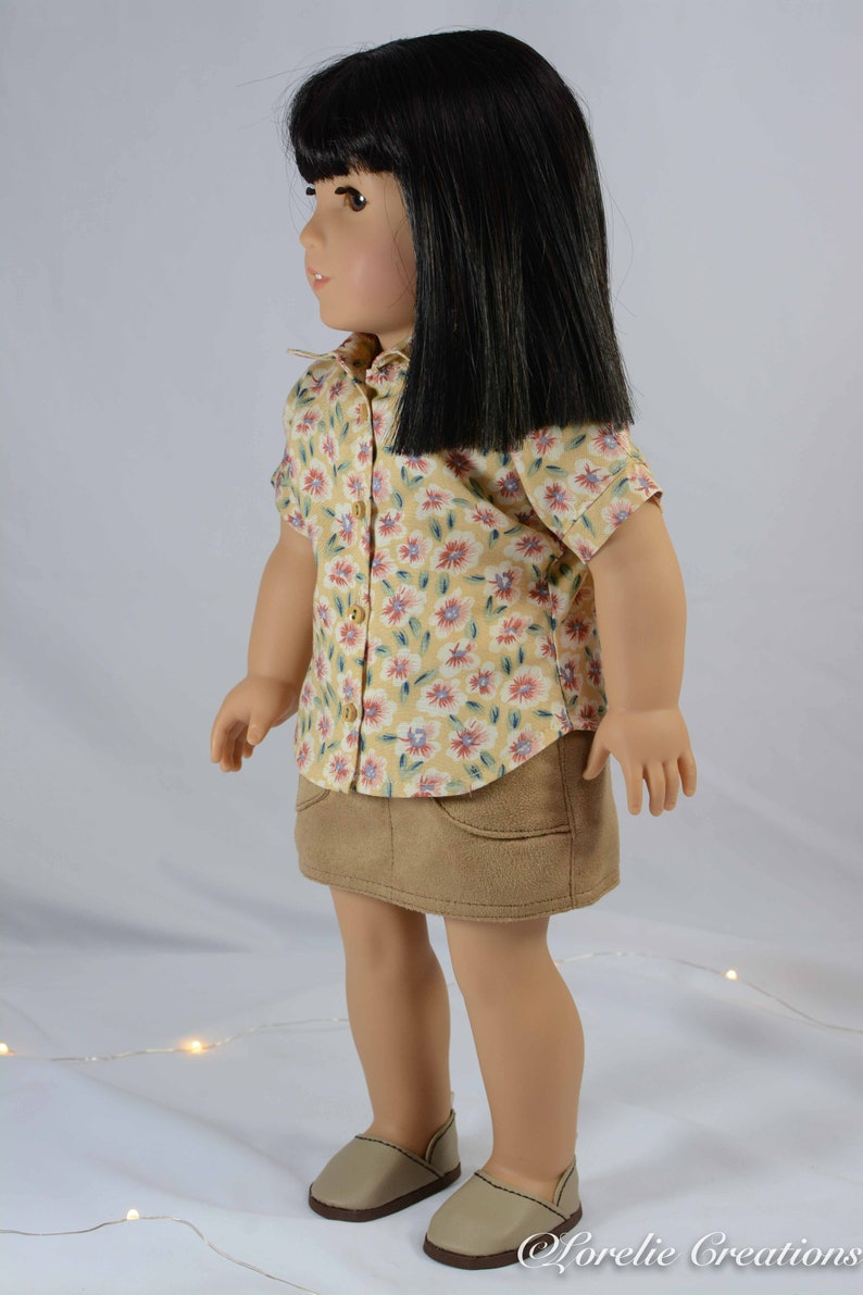 12eb5816cc72a American Girl or 18 Inch Doll Mini SKIRT Faux Suede Leather with Button  Front SHIRT and Tank Top and SHOES Option