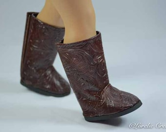 """BOOTS in BROWN EMBOSSED Faux Leather Cowgirl or Cowboy or Western style for American Girl or 18 """" Doll"""
