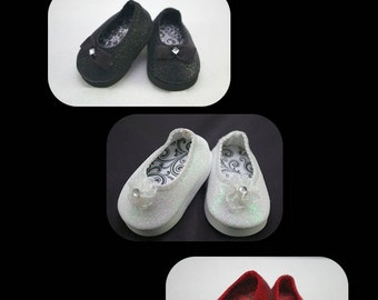 The SPARKLER Classic Shoe Collection in THREE Colors for American Girl or 18 inch doll Ballerina princess dressy party flats SPARKLE shoes
