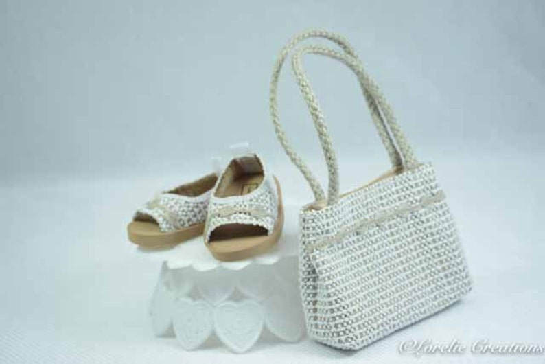 dafb88b98e3c9 American Girl or 18 Inch Doll SHOES Sandals Ballet Flats in LACY Look Vinyl  in White and Beige with Trim and Matching PURSE Opt