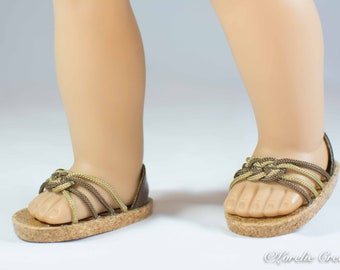 American Girl, 18 inch doll SANDALS SHOES Flipflops in Brown and Beige Caramel Woven Toe Band and Four Straps with Faux Leather Heel