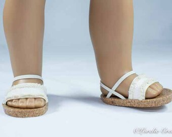 American Girl, 18 inch doll SANDALS SHOES Flipflops in Beige Tan Natural Fringe with Ankle and Heel Straps