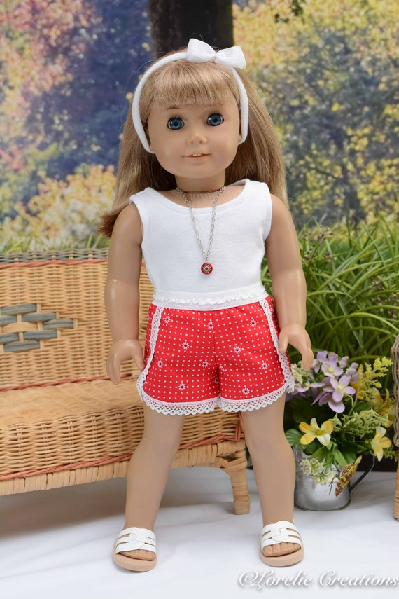 "For 18/"" American Girl Red//White Striped Crop Tank Top Doll Clothes"