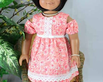 18 Inch Doll DRESS In Coral Peach with Peep Shoulder Necklace Bracelet and SHOES Option for dolls like American Girl