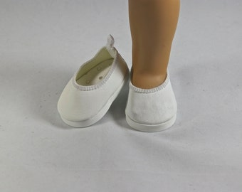 "WHITE ""Leather"" Ballerina Communion Wedding Flats Shoes with Four Trim OPTIONS Spring  for American Girl or 18 inch doll"