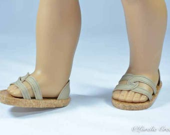 American Girl or 18 inch doll SHOES SANDALS beach flip flops peeptoe flats in BEIGE Tan Taupe with Closed Heel
