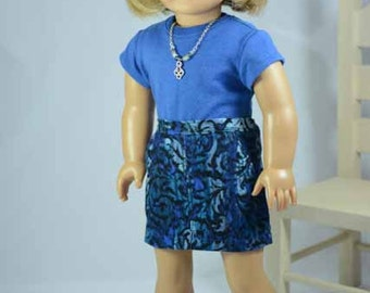American Girl or 18 Inch Doll Mini SKIRT Blue Swirl Corduroy with Pockets Blue TEE Shirt Top Headband Necklace and SHOES Option