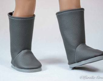 """BOOTS Shoes in Dove GRAY Faux Leather for American Girl or 18 """" Doll"""