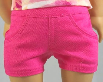 Hot Candy PINK SHORTS Pants Denim Twill with Four Working Pockets and Stitching Details for American Girl or 18 Inch Doll