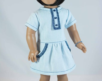 18 Inch Doll DRESS in Light BLUE Chambray with Bracelet and Two SANDALS Options for dolls like American Girl