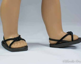 American Girl, 18 inch doll SANDALS SHOES Flipflops in Black Faux Leather Woven Toe Band and Two Straps with Heel Strap