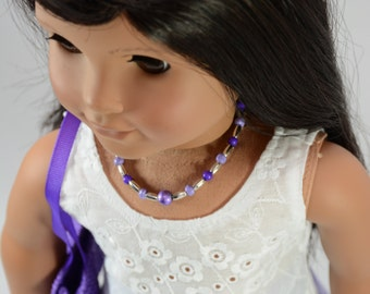 "White Eyelet TANK Top Shirt with Surprise NECKLACE for American Girl or 18"" Doll"