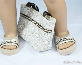 American Girl or 18 Inch Doll SHOES Sandals Ballet Flats in Textured Vinyl in White Beige and Brown with Trim and Matching PURSE Opt