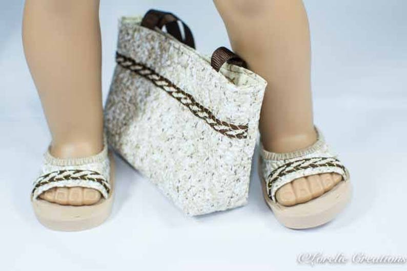 b7d26f1ff3fcc American Girl or 18 Inch Doll SHOES Sandals Ballet Flats in Textured Vinyl  in White Beige and Brown with Trim and Matching PURSE Opt