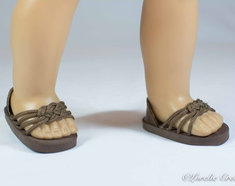 American Girl, 18 inch doll SANDALS SHOES Flipflops in Brown Woven Toe Band and Four Straps with Faux Leather Heel