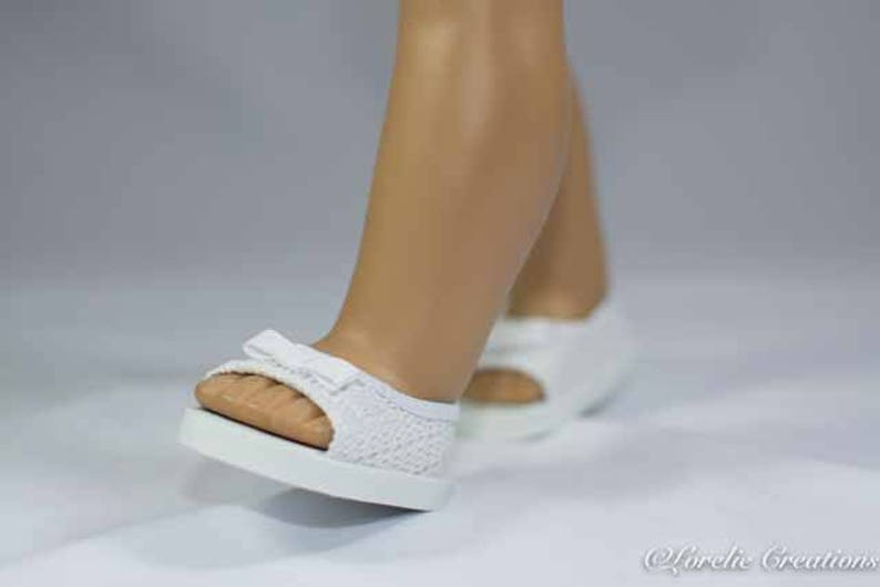 5cab58475aee6 American Girl, 18 inch doll SHOES SANDALS beach flip flops peeptoe flats in  White Lacy Woven-Look with Bow Trim