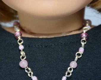 Pink Faux Pearl and Gold Bead NECKLACE and BRACELET JEWELRY Accessory Set for American Girl or 18 Inch Doll