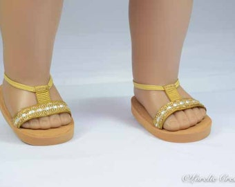 American Girl or 18 inch doll SANDALS SHOES Flipflops in Gold with Gold Sparkle Trim and Ankle Strap