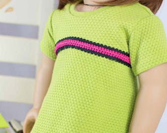 DRESS Tunic Lime Green with Flower Print LEGGINGS and HEADBAND for American Girl or 18 inch Doll