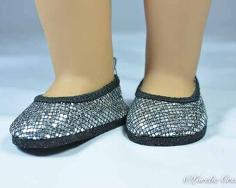 Ballerina flats SHOES for American Girl or 18 inch doll in SILVER Black Rhinestone Look Sparkle