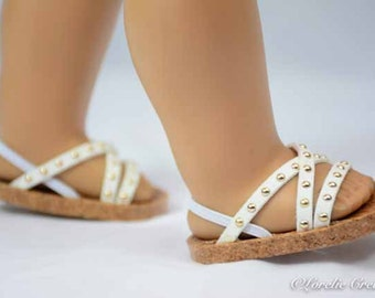 American Girl 18 inch doll SANDALS SHOES Flipflops in White Faux Leather with Crisscross Straps with Gold Stud Accents with Heel Strap