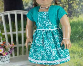 SUNDRESS Dress in Jade Green and White with JACKET Jewelry and SANDALS Option for American Girl or 18 inch Doll