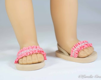 American Girl, 18 inch doll SANDALS SHOES Flipflops in Coral Peach Ruffled with Silver Accent and Heel Strap