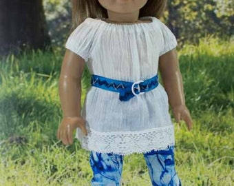 White TUNIC Top LEGGINGS Belt Headband and SANDALS Option for American Girl or 18 inch Doll