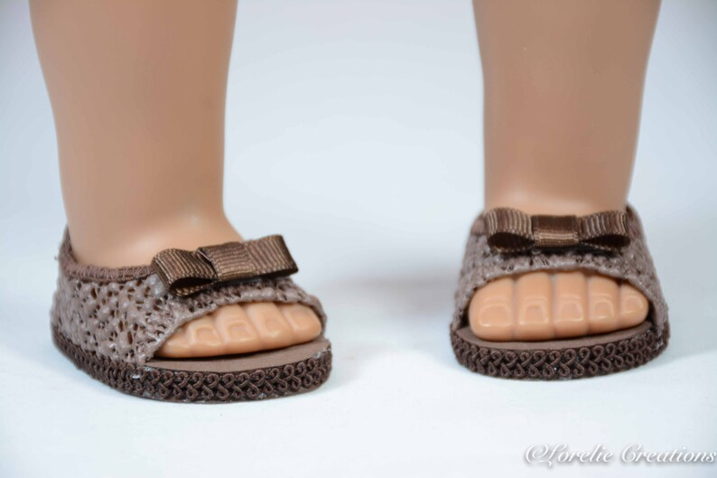 75a6d6828c9c1 Chocolate Mocha Brown Peeptoe SHOES Sandals Ballet Flats in LACY Vinyl With  BOW Trim for American Girl or 18 inch Doll