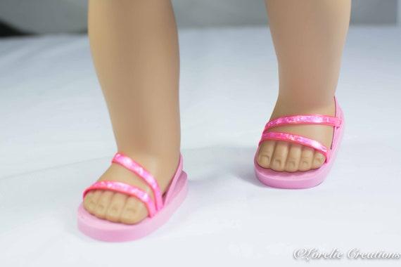 18 inch doll Ballerina princess party SANDALS SHOES Flip flops Double