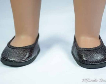 FLATS SHOES Slippers in Brown Black Cordovan Faux Leather for American Girl or 18 inch doll
