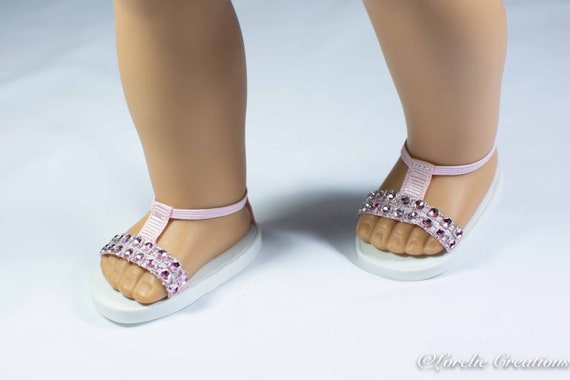 Pink Floral  Ankle Strap Shoes Fits 18 inch American Girl Dolls