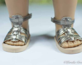 American Girl 18 inch doll SANDALS SHOES Gladiator Style in Pewter Gold Faux Leather with Ankle Strap