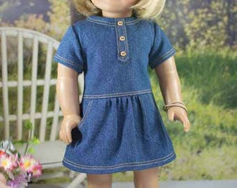 18 Inch Doll DRESS in Denim with Bracelet and BOOTS and PURSE Options for dolls like American Girl