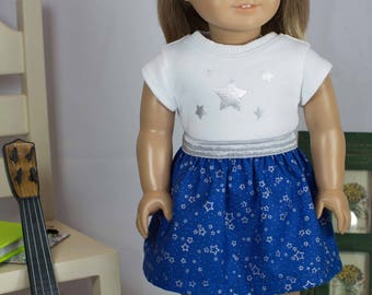 American Girl or 18 Inch Doll Luciana SKIRT in Royal Blue Silver Stars with Star TEE Shirt Top Hairbow and SHOES or Boots Option